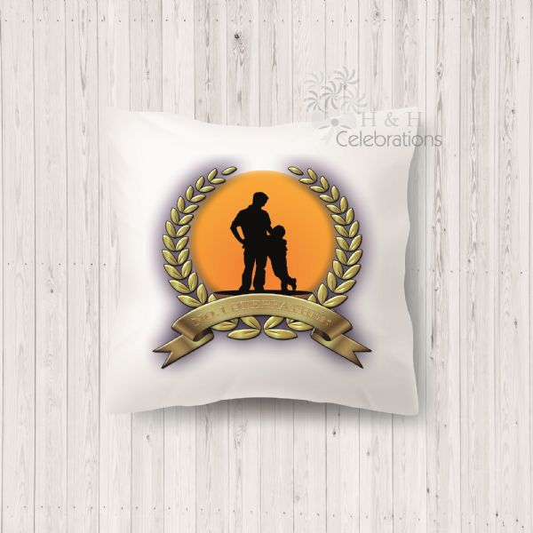 No 1 Stepfather And Son Laurel Silhouette Personalised Cushion